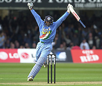 .29/06/2002.Sport - Cricket - .NatWest triangler Series England - Sri Lanka - India.England vs india 50 overs.  Lord's ground.Rahul Dravid after hitting the winning runs..