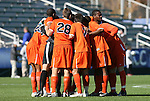 16 November 2008: Virginia players huddle before the game. The University of Maryland defeated the University of Virginia 1-0 at WakeMed Stadium at WakeMed Soccer Park in Cary, NC in the men's ACC tournament final.