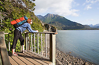 Stephanie Haynes overlooking Kachemak Bay while hiking on the Saddle  trail in Kachemak Bay State Park, near Homer, Alaska.