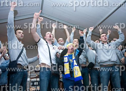 Players of Koper celebrate with fans at party after winning the  Final match of Slovenian Men Handball Cup between RK Cimos Koper and RK Celje Pivovarna Lasko, on April 19, 2009, in Arena Bonifika, Koper, Slovenia. Cimos Koper won 24:19 and became Slovenian Cup Champion. (Photo by Vid Ponikvar / Sportida)