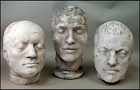 BNPS.co.uk (01202 558833)<br /> Pic: ThomsonRoddick/BNPS<br /> <br /> These disturbing Victorian plaster cast heads of notorious criminals are a far cry from today's bland mugshots of lowlifes.<br /> <br /> Two of the heads have been identified as Benjamin Courvoisier, a serial killer in the mould of Jack the Ripper, and coachman Daniel Good who mutilated his pregnant mistress. <br /> <br /> In total, nine heads were discovered at an outbuilding at a rural home just outside Penrith, Cumbria, which have now fetched almost &pound;40,000 at auction. <br /> <br /> Experts predicted the collection of heads would sell for &pound;2,000  but Courvoisier's head alone went for &pound;20,000.<br /> <br /> Two of the heads were made by the famous British exponent of phrenology, James De Ville, who built a private museum of more than 5,000 specimens.