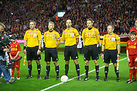 LIVERPOOL, ENGLAND - Thursday, October 4, 2012: Referee Stefan Johannesson and his team assistant referees Magnus Sjoblom and Joakim Flink and additional assistant referees Markus Strombergsson (SWE), Tobias Mattsson line-up before the UEFA Europa League Group A match between Liverpool and Udinese Calcio at Anfield. (Pic by David Rawcliffe/Propaganda)