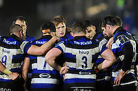 Harry Davies of Bath Rugby looks on in a huddle at half-time. Anglo-Welsh Cup match, between Bath Rugby and Gloucester Rugby on January 27, 2017 at the Recreation Ground in Bath, England. Photo by: Patrick Khachfe / Onside Images