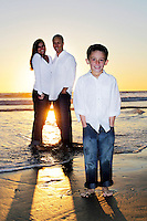 11 November 2012: John, Deanna and Logan Stoddart at the Huntington Beach pier in Southern California.