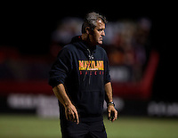 Maryland head coach Sasho Cirovski watches his team during the game at Ludwig Field on the campus of the University of Maryland in College Park, MD.  Maryland defeated Pittsburgh, 2-0.