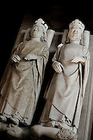Gisants of John II called the Good (1319 - 1364), Philip IV of Valois known as the Fortunate (1293 - 1350), marble, 1364, by Andre Beauneveu, commissionned by Charles V, son of John the Good and grand son of Philip IV of Valois, Abbey church of Saint Denis, Seine Saint Denis, France. Picture by Manuel Cohen