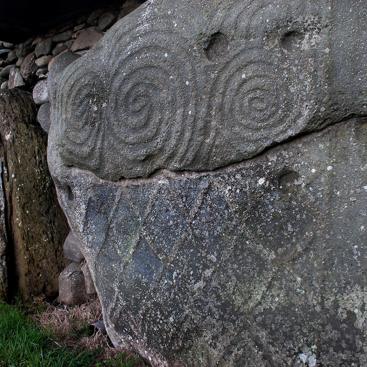 Carvings on kerbstone newgrange megalithic monument co