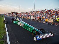 Sep 23, 2016; Madison, IL, USA; NHRA top fuel driver Kebin Kinsley during qualifying for the Midwest Nationals at Gateway Motorsports Park. Mandatory Credit: Mark J. Rebilas-USA TODAY Sports