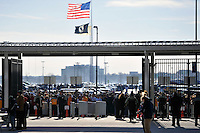 Fans wait for the gates to open. The United States (USA) and Argentina (ARG) played to a 1-1 tie during an international friendly at the New Meadowlands Stadium in East Rutherford, NJ, on March 26, 2011.