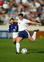 Heather O'Reilly kicks the ball during a 0-0 tie with Japan in San Diego, Calif.,  January 12, 2003.