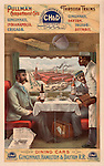 Vintage Illustration:  Pullman compartment cars on trains -- interior of dining cars on the Cincinnati, Hamilton &amp; Dayton R.R.. Print shows two men seated at a table in a dining car on a train being served by an African American porter. CREATED/PUBLISHED: c1894 CREATOR: Strobridge &amp; Co. Lith...