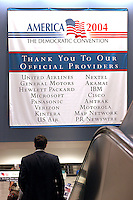 """BOSTON, MA - July 29, 2004: A list of Democratic Convention """"Official Providers,"""" hangs in the FleetCenter during the Democratic National Convention in Boston."""