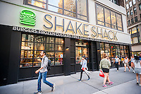 A Shake Shack restaurant in the Garment District in New York on Tuesday, August 9, 2016. The burger purveyor is scheduled to report second quarter results on Wednesday.(© Richard B. Levine)