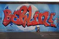 Section of the Berlin Wall with the tag Berlin! in graffiti, part of the East Side Gallery, a 1.3km long section of the Wall on Muhlenstrasse painted in 1990 on its Eastern side by 105 artists from around the world, Berlin, Germany. Picture by Manuel Cohen