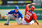 10 March 2012: New York Mets infielder Justin Turner gets Ian Desmond stealing 2nd base during a Spring Training game against the Washington Nationals at Space Coast Stadium in Viera, Florida. The Nationals defeated the Mets 8-2 in Grapefruit League play. Mandatory Credit: Ed Wolfstein Photo