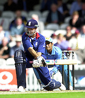 09/07/2002 - Tue.Sport - Cricket-  NatWest Series - Eng vs India Oval.England batting  Michael Vaughan..