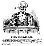 """Legal Improvements. In order to husband our judical staff, in future a judge will be expected to hear two cases at the same time. Portrait of a judge trying a theatrical """"Cause Celebre,"""" and a nice question as to a """"Remainder-Man"""" and a """"Tenant in Tail Mail."""" (a Victorian cartoon shows a judge with two simultaneous facial expressions)"""