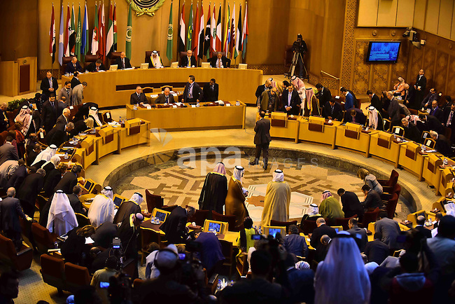 Members of Arab thought foundation take part in a meeting in the Arab League's headquarters in the Egyptian capital, Cairo, on Dec. 07, 2015. The Arab Thought Foundation is an international independent non-governmental organization. It has no inclination to any party or religious group; it is rather dedicated to promote the Nation's pride with all its principles, values and ethics, in an atmosphere of a responsible freedom. Photo by Amr Sayed
