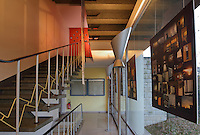 Hall and staircase leading to the bedrooms, in the Maison de L'Allemagne or Germany House, or Maison Heinrich Heine, designed by Johannes Krahn, 1908-1974, and opened in 1956, in the Cite Internationale Universitaire de Paris, in the 14th arrondissement of Paris, France. The CIUP or Cite U was founded in 1925 after the First World War by Andre Honnorat and Emile Deutsch de la Meurthe to create a place of cooperation and peace amongst students and researchers from around the world. It consists of 5,800 rooms in 40 residences, accepting another 12,000 student residents each year. Picture by Manuel Cohen. Further clearances may be requested.