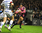 Tom James breaks for Cardiff.  Blues V Bath, EDF Energy Cup. &copy; Ian Cook IJC Photography iancook@ijcphotography.co.uk www.ijcphotography.co.uk