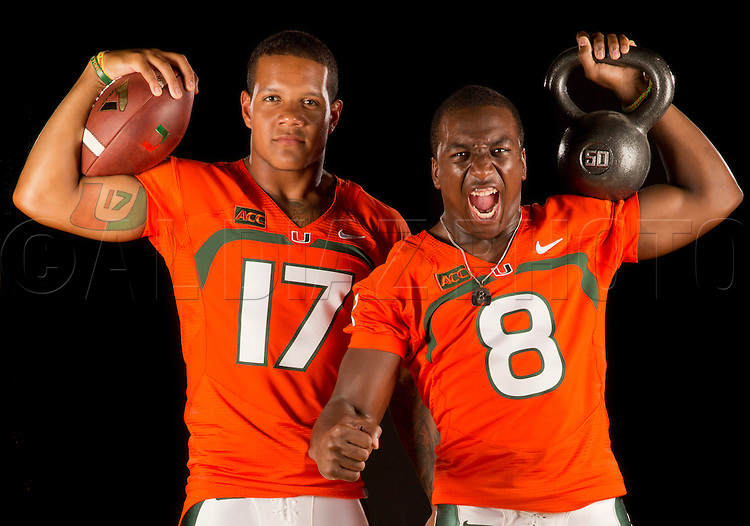 University of Miami Football Portrait Session 2013<br /> with quarterback Stephen Morris &amp; running back Duke Johnson for the Miami Herald on Saturday, August 17, 2013.