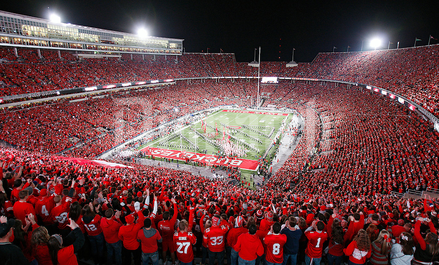 Ohio State Buckeyes enter the field before the NCAA college football game against Nebraska Cornhuskers at Ohio Stadium, October 6, 2012.  (Dispatch photo by Kyle Robertson)