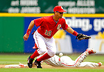 11 June 2006: Royce Clayton, shortstop for the Washington Nationals, is unable to hold onto the ball as Jimmy Rollins slides safely into second during a game against the Philadelphia Phillies at RFK Stadium, in Washington, DC. The Nationals shut out the visiting Phillies 6-0 to take the series three games to one...Mandatory Photo Credit: Ed Wolfstein Photo..