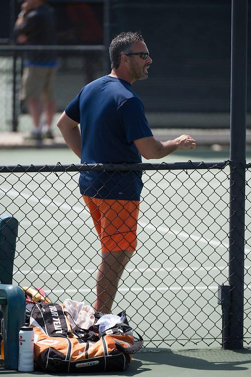 April 27, 2013; San Diego, CA, USA; Pepperdine Waves men's tennis head coach Adam Steinberg during the WCC Tennis Championships at Barnes Tennis Center.