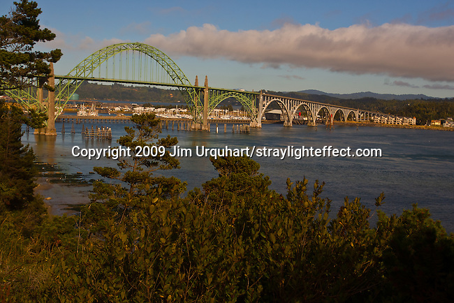 Pacific Coast Highway 101 crosses the Yaquina Bay Bridge near the Harbor of Newport in Newport, Oregon. Jim Urquhart/straylighteffect.com 7/23/09