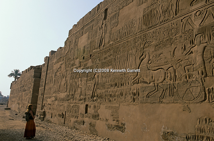 Karnak Temple; Battle of Kadesh; Egypt, North wall of Karnak temple, Relief of Ramses II in the battle at Kadesh with the Hittites in 1274 B.C., New Kingdom, Rameses, The Great