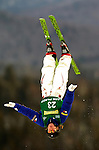 16 January 2005 - Lake Placid, New York, USA - Kelly Hilliman representing the USA, competes in the FIS World Cup Ladies' Aerial acrobatic competition, ranking 21st for the day, at the MacKenzie-Intervale Ski Jumping Complex, in Lake Placid, NY. ..Mandatory Credit: Ed Wolfstein Photo.