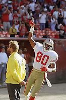 San Francisco 49ers wide receiver Jerry Rice celebrates after making a touchdown on a 12 yard pass play during the first quarter against the Denver Broncos at Candlestick Park in San Francisco on Wednesday, August 7, 1991. (Photo by Alan Greth)