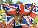 Athletics - Samsung Diamond League 2012 - Aviva Birmingham Grand Prix - Alexander Stadium, Birmingham - 26/8/12 Great Britain's Mo Farah celebrates at the end of the meeting Mandatory Credit: Action Images / Paul Currie Livepic