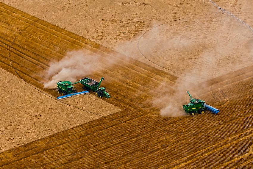 A combine harvester unloads it's grain to a grain wagon pulled by a tractor (Machine Sync uses GPS signals and automation technology to synchronize the combine and tractor pulling the grain wagon)<br /> while in motion during the wheat harvest, Schields &amp; Sons Farming, Goodland, Kansas USA.
