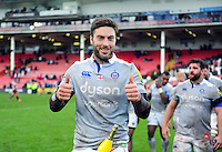 Matt Banahan of Bath Rugby celebrates after the match. Aviva Premiership match, between Gloucester Rugby and Bath Rugby on October 1, 2016 at Kingsholm Stadium in Gloucester, England. Photo by: Patrick Khachfe / Onside Images