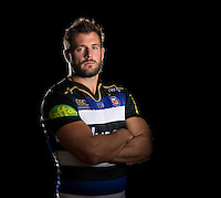 Luke Arscott poses for a portrait in the 2015/16 home kit during a Bath Rugby photocall on September 8, 2015 at Farleigh House in Bath, England. Photo by: Patrick Khachfe / Onside Images