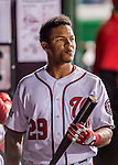 14 October 2016: Washington Nationals catcher and Baseball America top prospect Pedro Severino stands in the dugout during the NLDS Game 5 against the Los Angeles Dodgers at Nationals Park in Washington, DC. The Dodgers edged out the Nationals 4-3, to take Game 5, and the Series, 3 games to 2, moving on to the National League Championship against the Chicago Cubs. Mandatory Credit: Ed Wolfstein Photo *** RAW (NEF) Image File Available ***