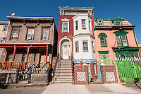 Several private houses in the Melrose neighborhood of the borough of the Bronx in New York on Thursday, September 19, 2013. (© Richard B. Levine)