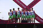 7 rider team Bardiani CSF at sign on before Stage 1 of the 100th edition of the Giro d'Italia 2017, running 206km from Alghero to Olbia, Sardinia, Italy. 4th May 2017.<br /> Picture: Ann Clarke | Cyclefile<br /> <br /> <br /> All photos usage must carry mandatory copyright credit (&copy; Cyclefile | Ann Clarke)