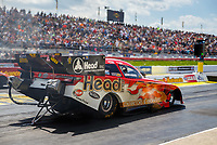 May 6, 2017; Commerce, GA, USA; NHRA funny car driver Jonnie Lindberg launches off the starting line during qualifying for the Southern Nationals at Atlanta Dragway. Mandatory Credit: Mark J. Rebilas-USA TODAY Sports