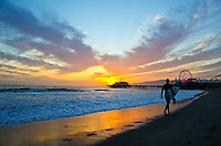 Santa Monica beach amid the sunset on Thursday, April 11, 2013.