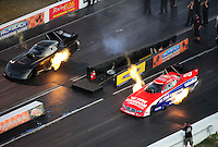 Jan. 20, 2012; Jupiter, FL, USA: Aerial view of NHRA funny car driver Johnny Gray (right) alongside Alexis DeJoria during testing at the PRO Winter Warmup at Palm Beach International Raceway. Mandatory Credit: Mark J. Rebilas-