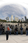 Downtown Chicago and the Cloud Gate sculpture in Millennium Park by Anish Kapoor.