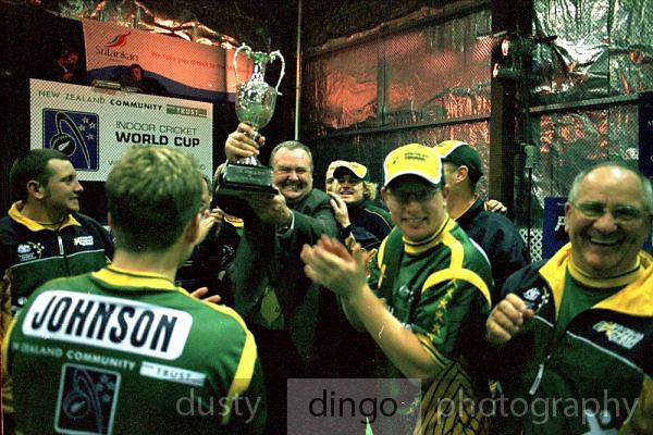 Rod (Rocket) Chilcott, Manager of the Australian Men, holds the Indoor Cricket World Cup trophy.<br /> 2002 Indoor Cricket World Cup, Wellington, New Zealand