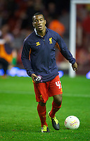 LIVERPOOL, ENGLAND - Thursday, October 4, 2012: Liverpool's Andre Wisdom warms-up before the UEFA Europa League Group A match against Udinese Calcio at Anfield. (Pic by David Rawcliffe/Propaganda)