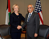 United States Secretary of State Hillary Rodham Clinton shakes hands with Prime Minister Salam Fayyad of the Palestinian Authority at the David Citadel Hotel in Jerusalem, Israel, on Wednesday, September 15, 2010. .Credit: Department of State via CNP.