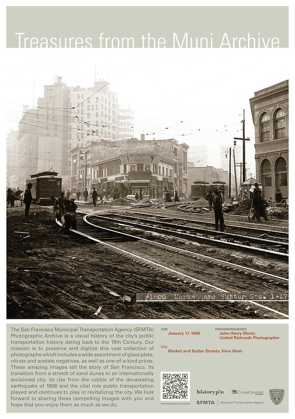 Market Street & Sutter Street |  January 17, 1908 | Treasures from the Muni Archive