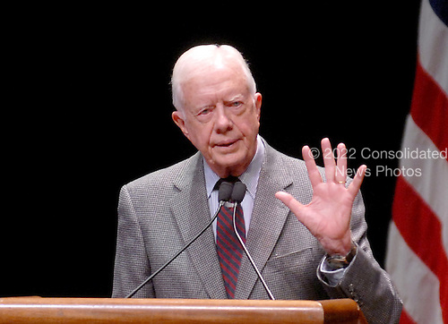 "Washington, D.C. - March 8, 2007 -- Former United States President Jimmy Carter speaks to students at George Washington University on his controversial book  ""Palestine: Peace Not Apartheid"" in Washington, D.C. on Thursday, March 8, 2007..Credit: Ron Sachs / CNP"