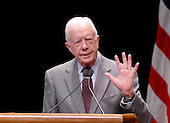 """Washington, D.C. - March 8, 2007 -- Former United States President Jimmy Carter speaks to students at George Washington University on his controversial book  """"Palestine: Peace Not Apartheid"""" in Washington, D.C. on Thursday, March 8, 2007..Credit: Ron Sachs / CNP"""