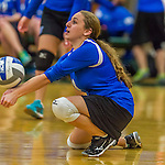 1 November 2015: Yeshiva University Maccabee Defensive Specialist and Outside Hitter Yael Green, a Sophomore from Brookline, MA, in action against the Saint Joseph College Bears at SUNY Old Westbury in Old Westbury, NY. The Bears shut out the Maccabees 3-0 in NCAA women's volleyball, Skyline Conference play. Mandatory Credit: Ed Wolfstein Photo *** RAW (NEF) Image File Available ***
